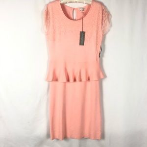 Eva Mendes Lace Accent with Mid Ruffle Dress L NWT